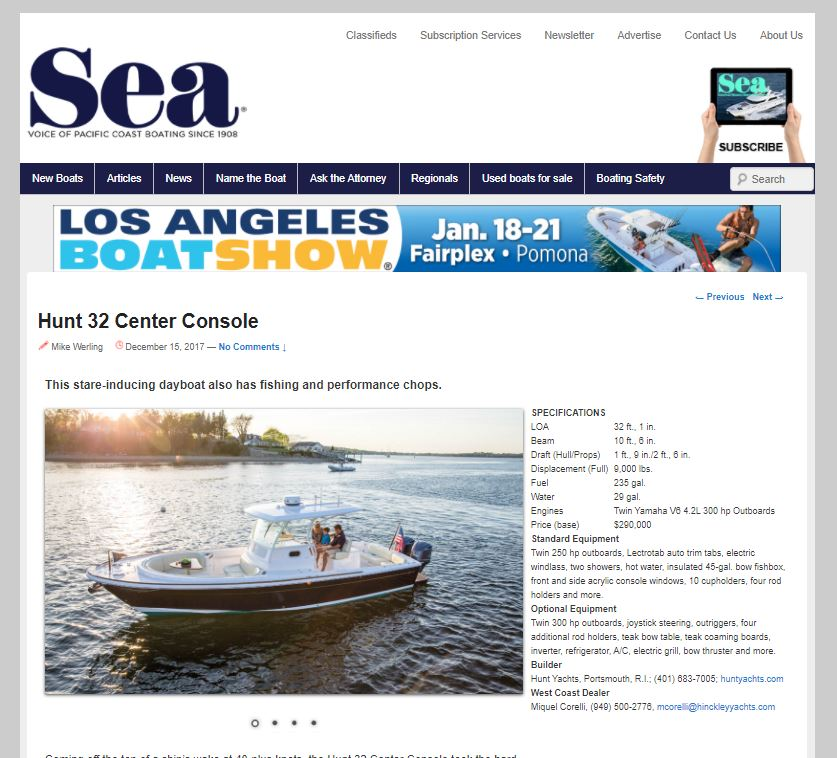 Sea Magazine Online: Hunt 32 Center Console
